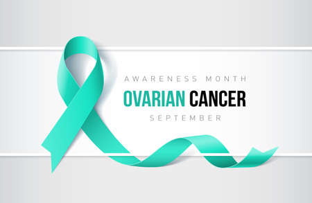 Banner with ovarian cancer awareness realistic ribbon. Design template for websites magazines.