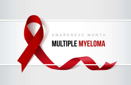 Banner with multiple myeloma awareness realistic ribbon. Design template for websites magazines.