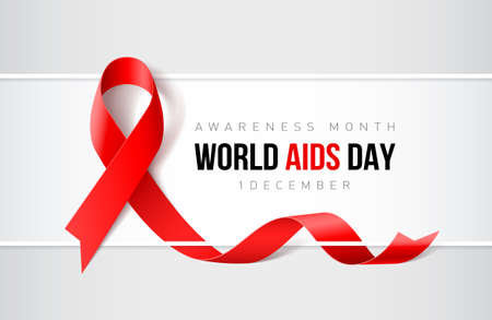 Banner with aids awareness realistic red ribbon. World aids day concept on red background. Design template for websites magazines. Illustration