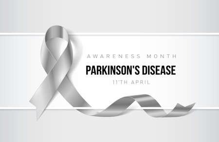 Banner with parkinsons disease awareness realistic ribbon. Design template for websites magazines.