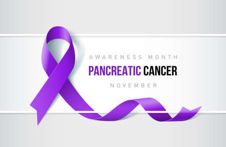 Banner with pancreatic cancer awareness realistic ribbon. Design template for websites magazines. Illustration