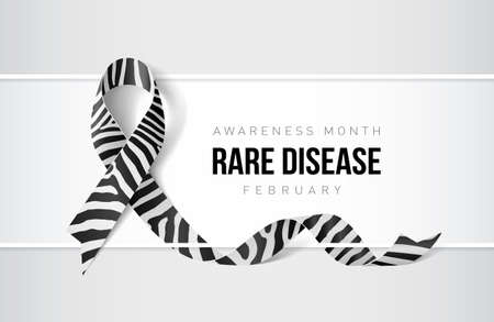 Banner with rare disease awareness realistic ribbon. Design template for websites magazines. Illustration