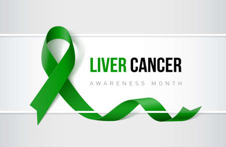 Banner with liver cancer awareness realistic ribbon. Design template for websites magazines.