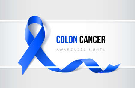 Banner with colon cancer and color-rectal cancer awareness realistic blue ribbon. Design template for websites magazines.