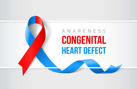 Banner with congenital heart defect awareness realistic ribbon. Design template for websites magazines.