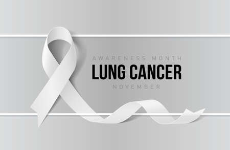 Banner with lung cancer awareness realistic white ribbon. Design template for websites magazines.