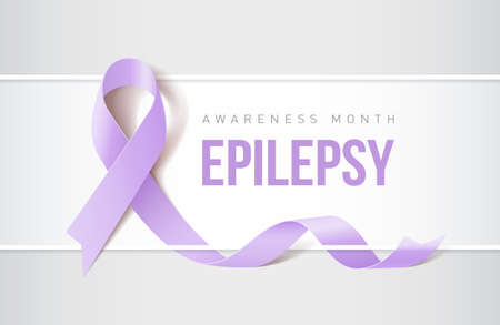 Banner with epilepsy awareness realistic ribbon. Design template for websites magazines.