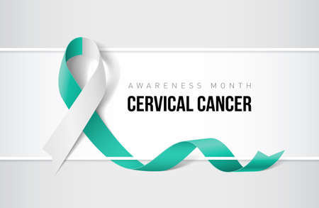 Banner with cervical cancer awareness realistic ribbon. Design template for websites magazines. Ilustração