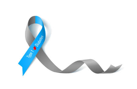 Symbol of Diabetes Type One Awareness Realistic Ribbon icon 矢量图像