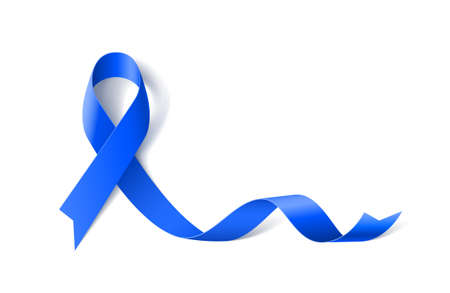 Colon Cancer Awareness Realistic Blue Ribbon icon