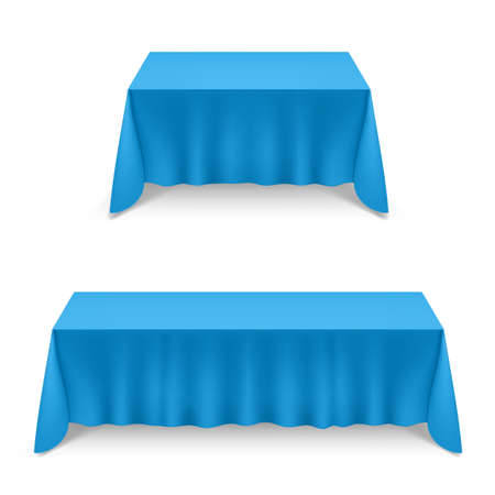 Two Empty Big Banquet Table Covered with Blue Tablecloth Illustration