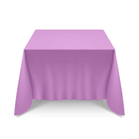 Empty Big Banquet Table Covered with Magenta Tablecloth Illustration