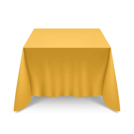 Empty Big Banquet Table Covered with Yellow Tablecloth