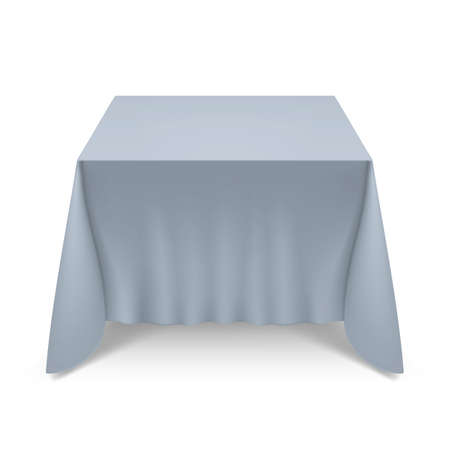 Empty Big Banquet Table Covered with Gray Tablecloth
