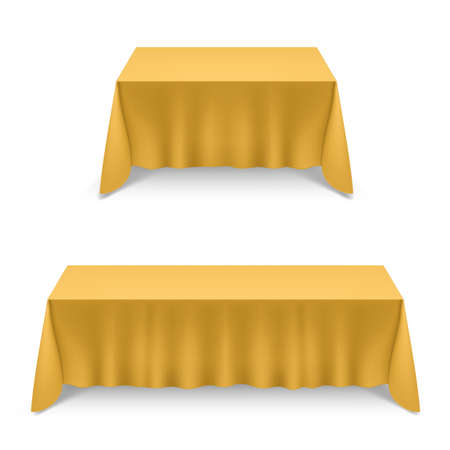 Two Empty Big Banquet Table Covered with Yellow Tablecloth Illustration