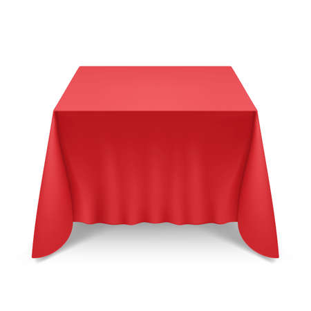 Empty Big Banquet Table Covered with Red Tablecloth Illustration