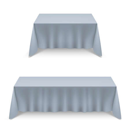 Two Empty Big Banquet Tables Covered with Gray Tablecloth Illustration