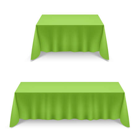 Two Empty Big Banquet Table Covered with Green Tablecloth