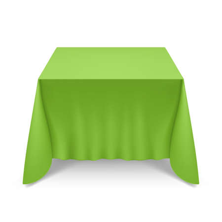 Empty Big Banquet Table Covered with Green Tablecloth