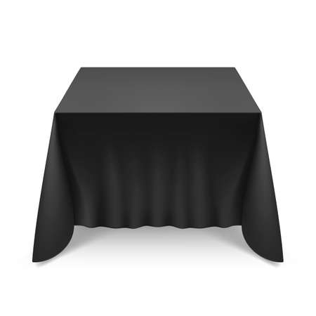 Empty Big Banquet Table Covered with Black Tablecloth