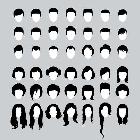 Gran conjunto de cortes de pelo masculinos y femeninos y siluetas de peinados Ilustración de vector