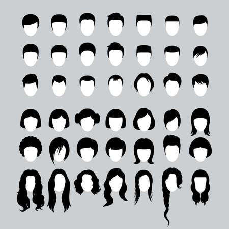 Grote reeks van mannelijke en vrouwelijke kapsels en kapselsilhouetten Vector Illustratie