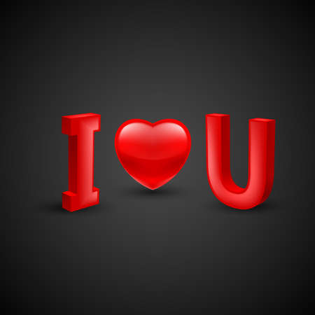 Illustration of Valentines Day Concept - I Love You with Red Heart on Black Background with Shadow