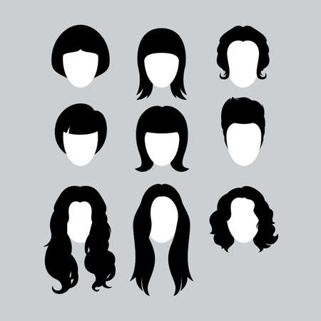 Set of Black Hair Styling Silhouettes for Woman