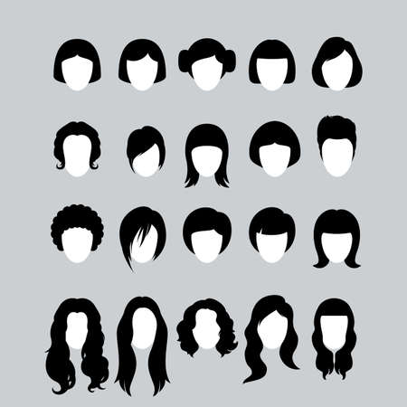 Big Set of Black Hair Styling Silhouettes for Woman