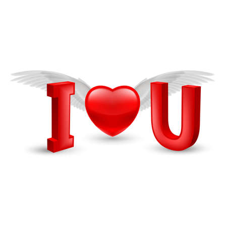 Illustration of Valentines Day Concept - I Love You with Red Heart and White Wings with Shadow