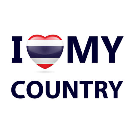 Heart with Thai flag colors. I Love My Country - Thailand Illustration