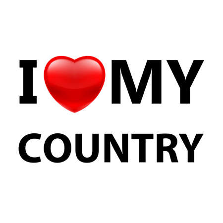 I Love My Country. Logo Patriot Red Heart on White Background Illustration