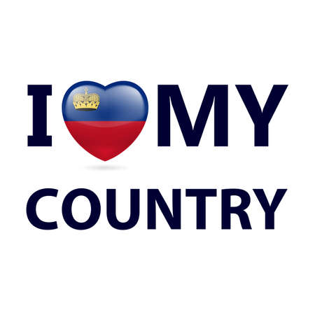 I Love My Country - Liechtenstein. Heart with flag colors