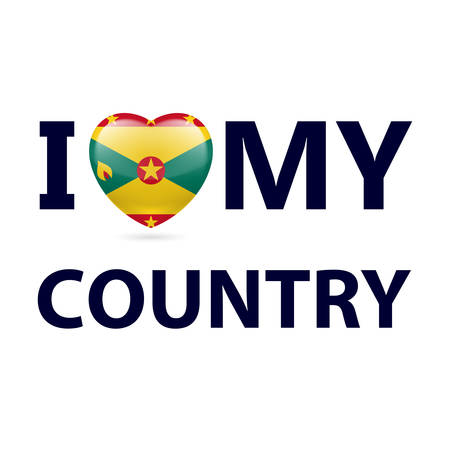 I Love My Country - Grenada. Heart with flag design Illustration