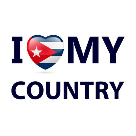 Heart with Cuban flag colors. I Love My Country - Cuba