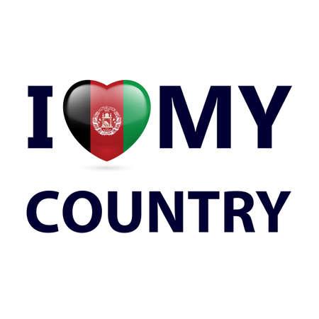 Corazón con colores de la bandera de Afganistán. Amo a mi país - Afganistán