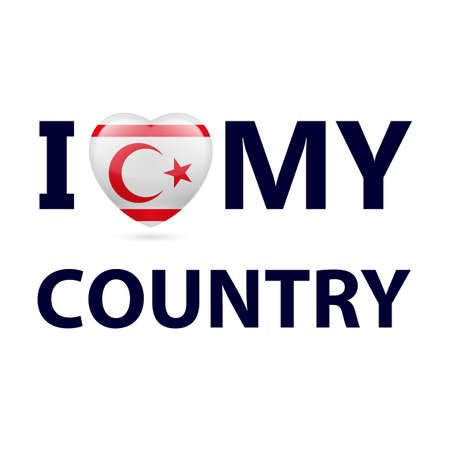 I Love My Country - Northern Cyprus. Heart with flag design