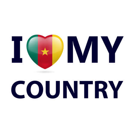 Heart with Cameroonian flag colors. I Love My Country - Cameroon