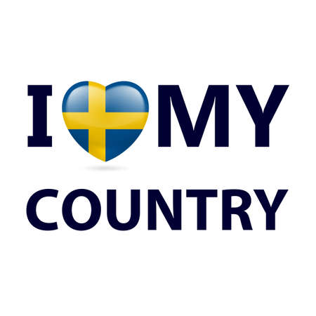Heart with Swedish flag colors. I Love My Country - Sweden