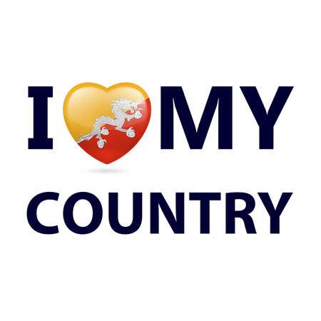 Heart with Bhutanese flag colors. I Love My Country - Bhutan