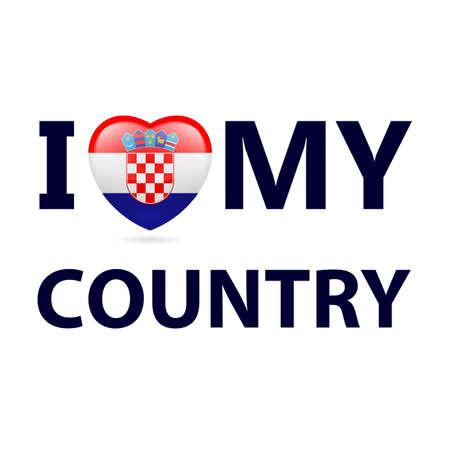 Heart with Croatian flag colors. I Love My Country - Croatia