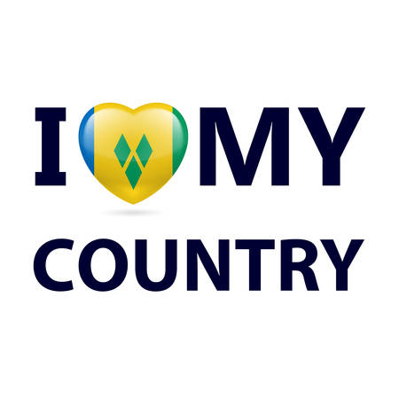 I Love My Country - Saint Vincent and the Grenadines. Heart with flag colors