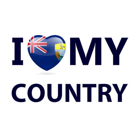 I Love My Country - Saint Helena, Ascension and Tristan da Cunha. Heart with flag design