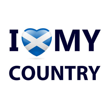 Heart with Scottish flag colors. I Love My Country - Scotland Illustration