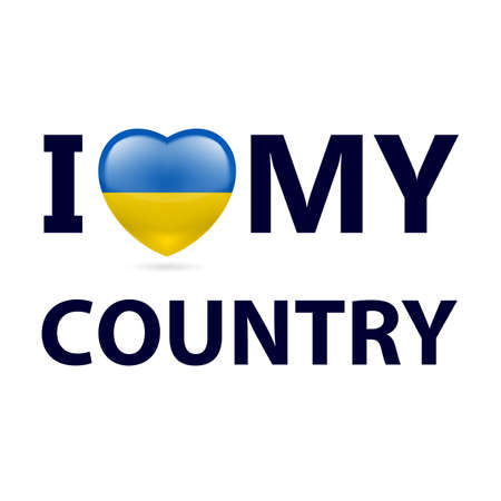 Heart with Ukrainian flag colors. I Love My Country - Ukraine Vectores