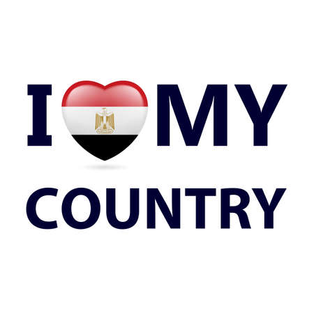 Heart with Egyptian flag colors. I Love My Country - Egypt