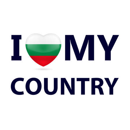 Heart with Bulgarian flag colors. I Love My Country - Bulgaria Vettoriali