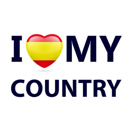 Heart with Spanish flag colors. I Love My Country - Spain