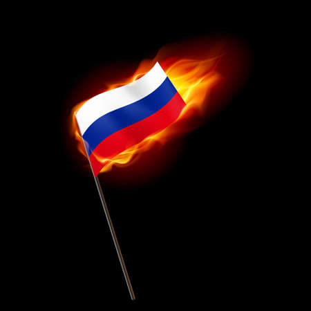 Flag of Russian Federation. Concept Illustration of Crisis or War Conflict with Russian flag