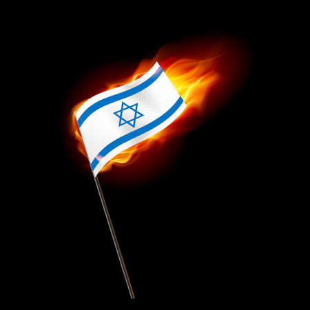 Flag of Israel. Concept Illustration of Crisis or War Conflict with Israeli flag Ilustração